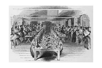 Buttons Factory, Woodcut, 19Th Century