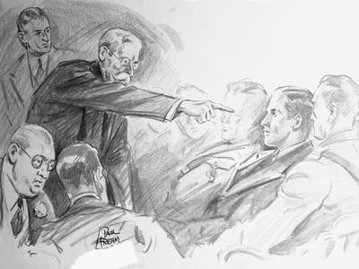 Sketch Scene from Bruno Hauptmann Trial