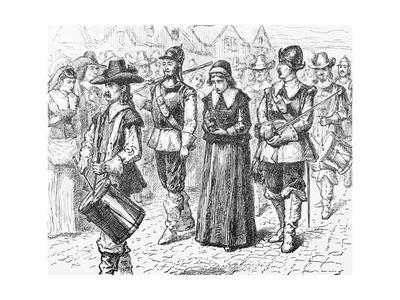 Illustration of Mary Dyer Led to Execution