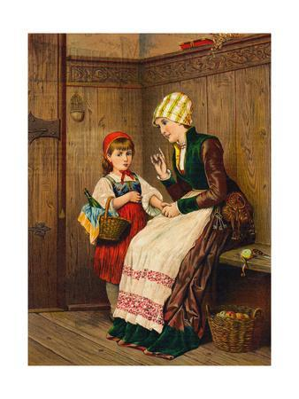 Little Red Riding Hood Being Instructed by Her Mother