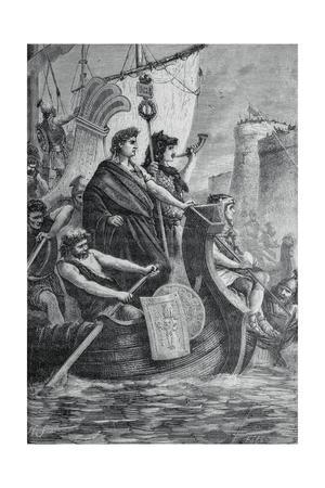 Julius Caesar Traveling on Channel by Boat