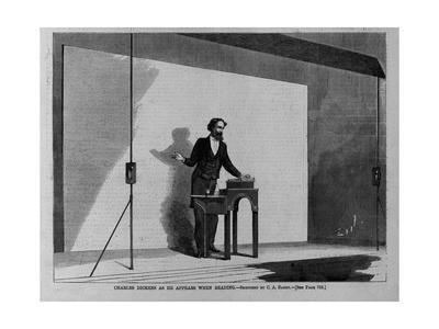 Charles Dickens as He Appears When Reading. Sketched by C. A. Barry. See Page 782.