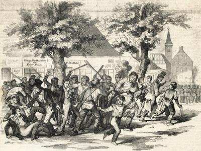 Demonstrators Fighting in Street