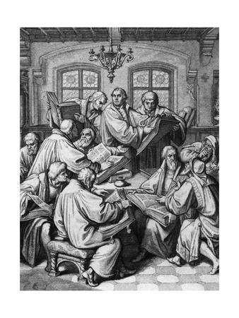 Martin Luther with Colleagues; Engraving