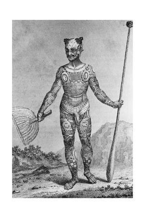 Engraving of a Man from the Marquesas Islands Covered in a Full Body Tattoo after Grigorii Ivanovic