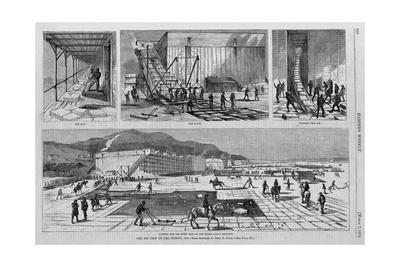 Cutting the Ice-West Side of the River, above Rondout. the Ice Crop on the Hudson, 1874.