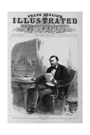 President Grant Preparing His Veto Message in the Cabinet Room of the White House. (Photo)