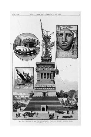 New York - Progress of the Work on Bartholdi's Statue of Liberty, Bedloe's Island. from a Sketch By