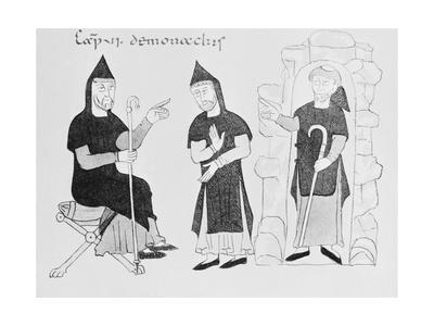 Drawing of Early Medieval Monks Conversing