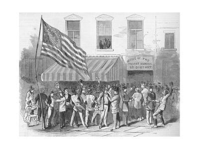 Illustration of Men Congregating outside of the Provost Marshal's Office