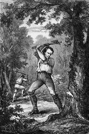 Abraham Lincoln Chopping down Tree