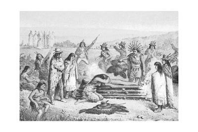 Illustration of Early Native Americans Burial Rites