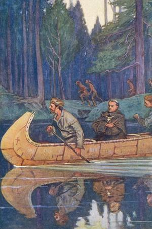 Louis Hennepin Riding in Canoe