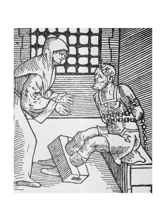 Restrained Prisoner Being Visited in Cell
