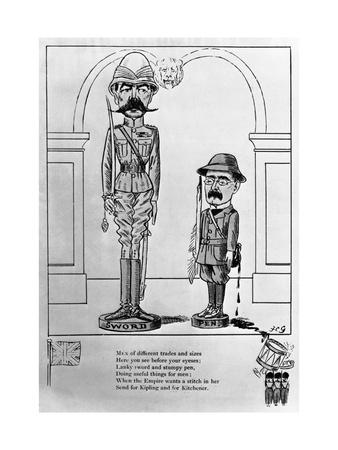 Political Cartoon of Kitchener and Kipling with Poem
