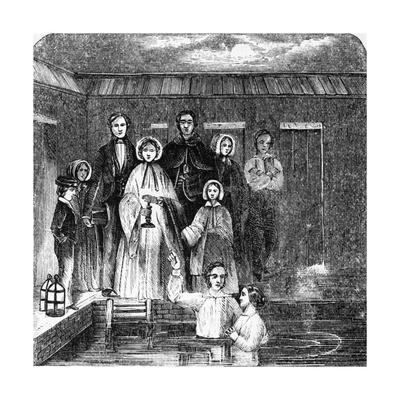 Engraving of A Mormon Baptism