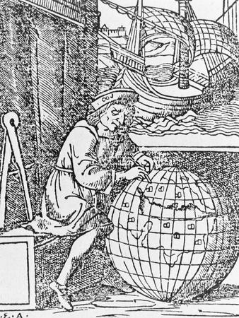 Christopher Columbus Studying Globe