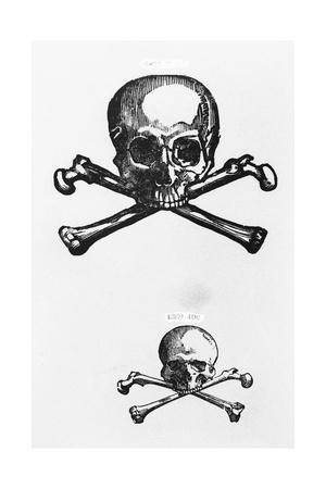 Woodcut of Skull and Crossbones
