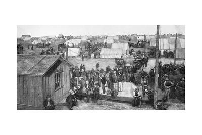 Engraving of Settling of an Oklahoma Town