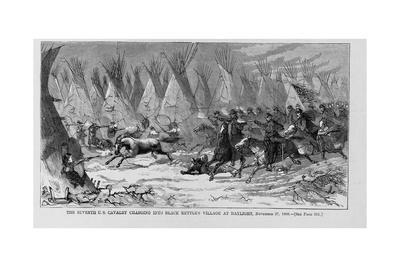 The Seventh U.S. Cavalry Charging into Black Kettle's Village at Daylight, November 27, 1868. See P