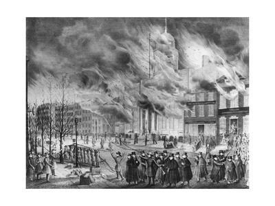 Illustration of Crowd outside Burning Buildings