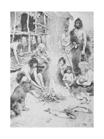 Prehistoric Family Surrounding Fire