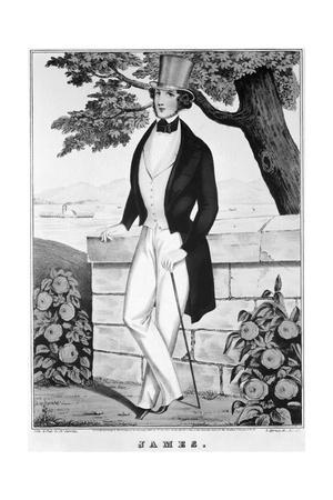 Lithograph of Man in Top Hat
