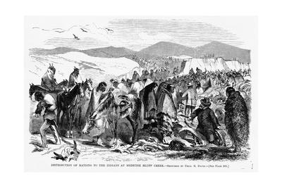 Distribution of Rations to the Indians at Medicine Bluff Creek.