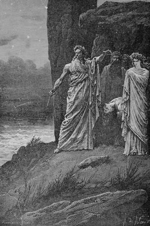 Engraving of Druids Offering Human Sacrifice by A. De Neuville