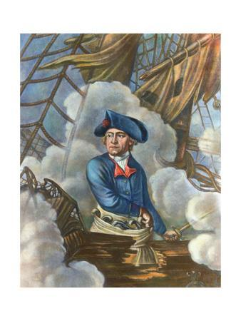 John Paul Jones with Sword in Hand on Ship Deck