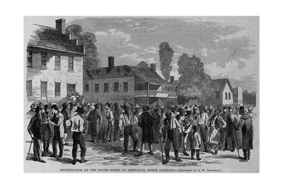 Registration at the South - Scene at Asheville, North Carolina. Sketched by A. W. Thompson.