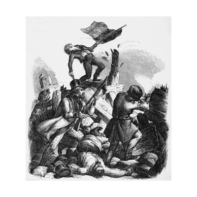 Illustration of Men Fighting at Barricades in Berlin by Kirchoff
