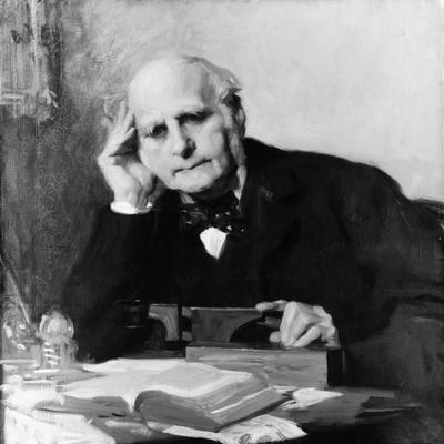 Painting of Scientist Sir Francis Galton at Work