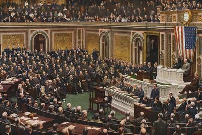 Woodrow Wilson Speaking to Congress in July Nineteen Eighteen