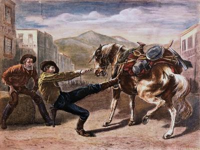 Miner Pulling Horse