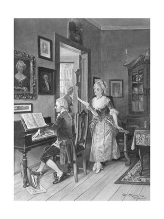 Mozart Playing Piano for Young Songstress