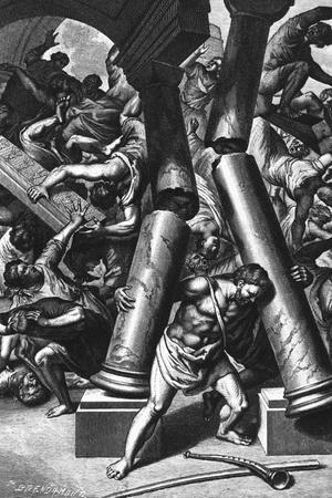Illustration Depicting Samson Destroying Temple