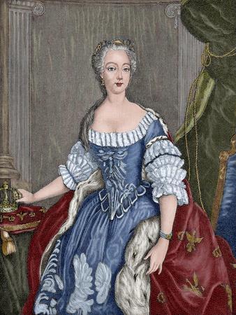 Elisabeth Christine of Brunswick-Wolfenbuttel-Bevern (1715-1797). Engraving. Colored.
