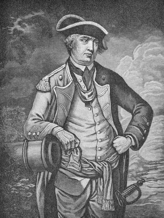 Portrait of American Revolutionary Israel Putnam Ready for Battle