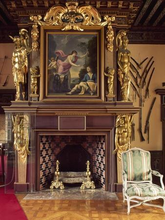 France, Chateau De Cheverny, Painting Depicting the Death of Adonis Placed on Fireplace of Armory