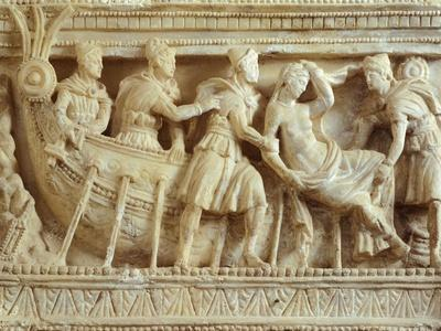 Alabaster Urn Relief Depicting the Rape of Elena