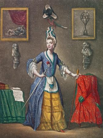 The Chevalier D'Eon Dressed as a Woman and with the Attributes of Freemasonry