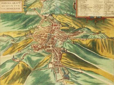 Map of Perugia from Civitates Orbis Terrarum