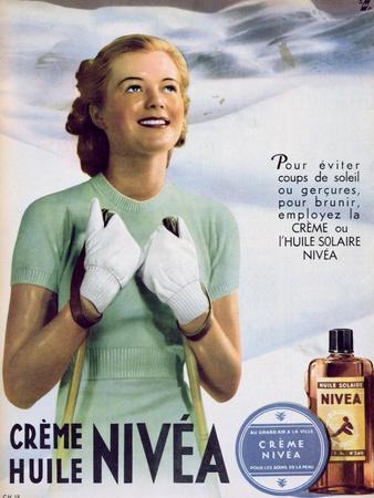 Advertisement for 'Nivea' Sun Cream, from 'Marie Claire', 1938