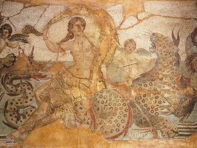 Mosaic Depicting Nereid Sitting on Sea Monster Surrounded by Cherubs