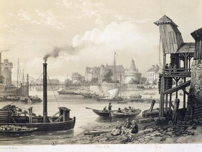 Port of Nantes Seen from Mauve, France 19th Century Lithograph