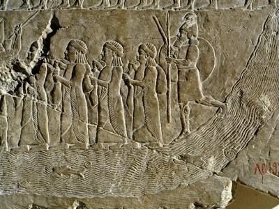 River Lined by Men, Relief from Nineveh, Iraq
