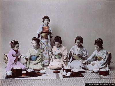 Young Japanese Girls Eating Noodles, C.1900