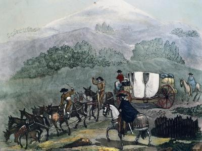 Mexico, Carriage Travelling from Mexico City to Xalapa with Pico D'Orizaba in Background, 1826