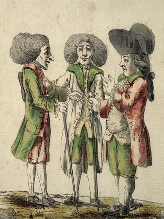 Caricature of English Novelists Speaking of Taking of Grenada on July 4, 1779